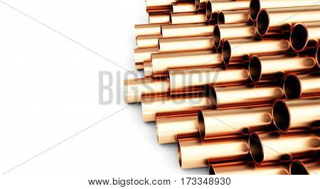 copper pipes of different diameter . Isolated on White Background. 3D illustration