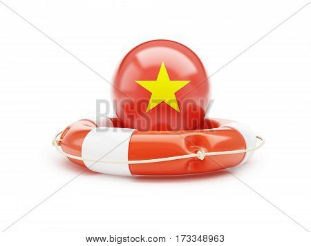 Lifebelt with Vietnam flag help on a white background 3D illustration