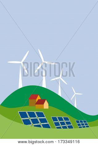 Vector sustainable development background, vertical illustration green