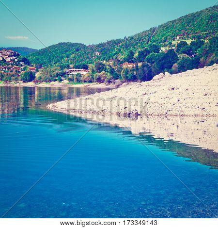 Italian City Castel di Tora by the Lake Lago del Turano Instagram Effect