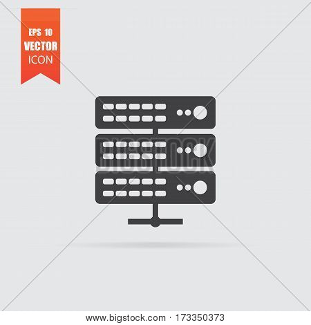 Server Icon In Flat Style Isolated On Grey Background.