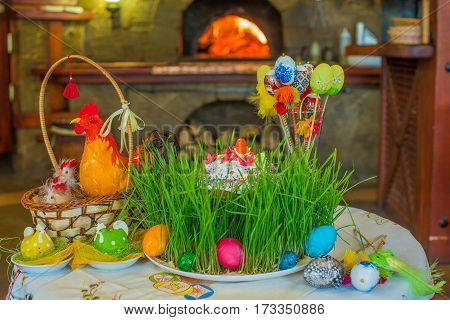 Easter Cake - Russian and Ukrainian Traditional Kulich, Paska Easter Bread. Selective focus. Easter cake on easter festive table. Copy space.