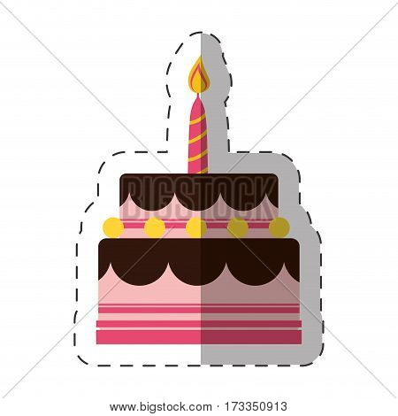birthday cake sweet candle vector illustration eps 10