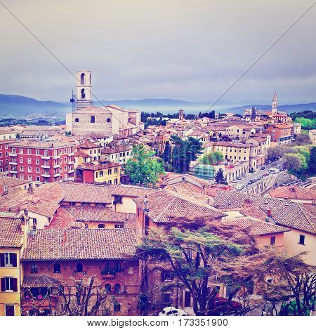 Aerial View to Historic Center of the City of Perugia in Italy Instagram Effect