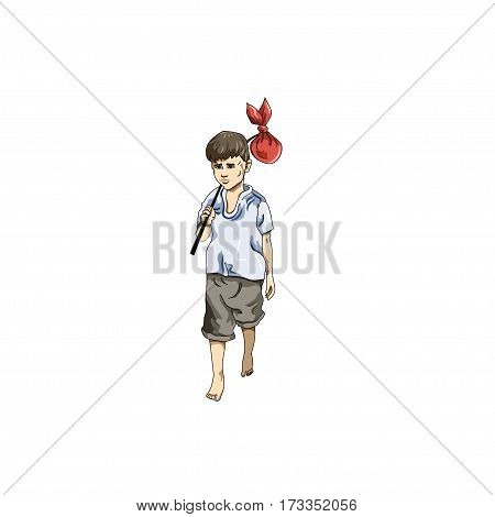 EPS 10 vector illustration of boy in Everyday Walking Up Hilll pose on white background