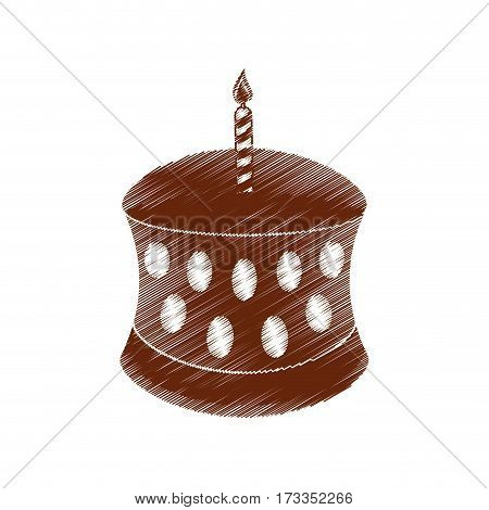 drawing birthday chocolate cake candle vector illustration eps 10