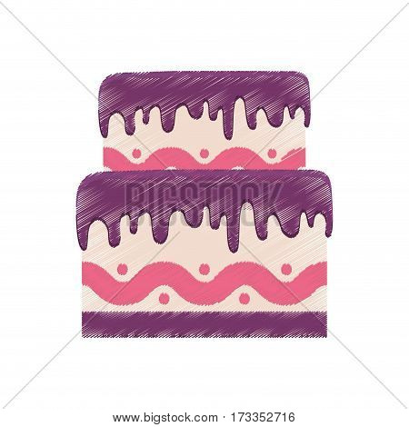 drawing birthday cake purple cream vector illustration eps 10