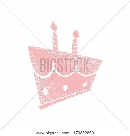 drawing pink birthday cake sweet vector illustration eps 10