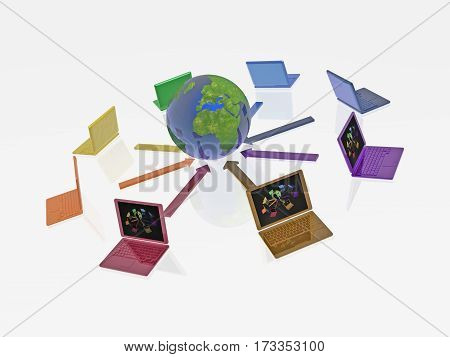Network - notebooks and globe on whited background 3D illustration.