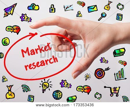 Technology, Internet, Business And Marketing. Young Business Woman Writing Word: Market Research