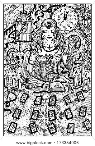 Fortune teller woman with tarot cards and magic ball. Hand drawn vector illustration. Engraved line art drawing, black and white doodle.