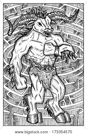 Minotaur monster and labyrinth. Hand drawn vector illustration. Engraved line art drawing, black and white doodle.