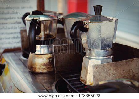 Moka Pot Italian Traditional Coffee Maker With Hot Coffee