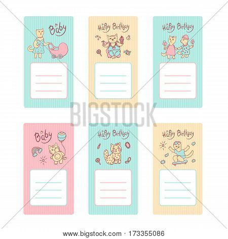 Vector children greeting card in pastel colors. Cat mom with a baby carriage, a girl with ice cream, kitten boy with fruit and sweet. Cat on a skateboard, a kitten with balloon. Space for text