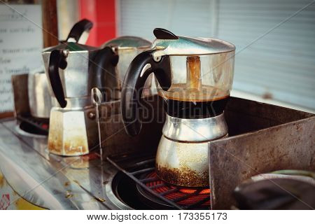 Moka Pot Italian Traditional Coffee Maker With Hot Coffee