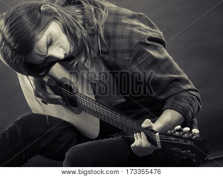 Black And White Picture With Guitarist.