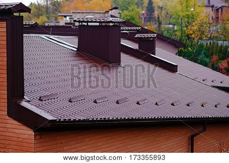 roof with chimneys with modern driver autumn