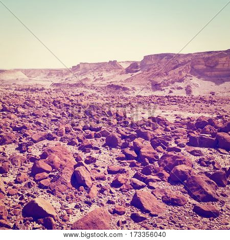 Stones in the Judean Desert on the West Bank of the Jordan River Instagram Effect