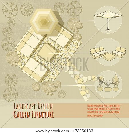 Vector illustration of hand drawn lounge chairs under patio umbrella and flowers in pot. Garden accessory on beige  background. Landscape design. Summer backyard with outdoor furniture.  Rest area Top view.