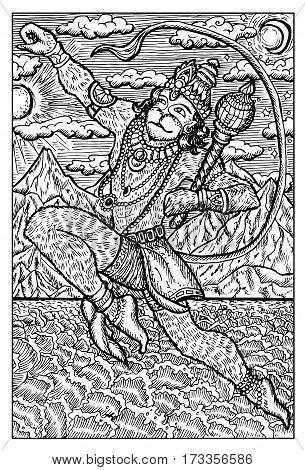 Hanuman, Hindu Monkey God, jumping over the ocean. Hand drawn vector illustration. Engraved line art drawing, black and white doodle.