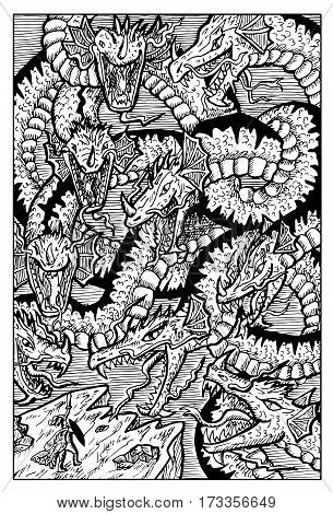 Hydra, water serpent monster, and warrior. Hand drawn vector illustration. Engraved line art drawing, black and white doodle.