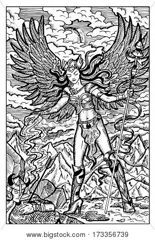 Valkyrie, North mythology maiden and dead warrior. Hand drawn vector illustration. Engraved line art drawing, black and white doodle.