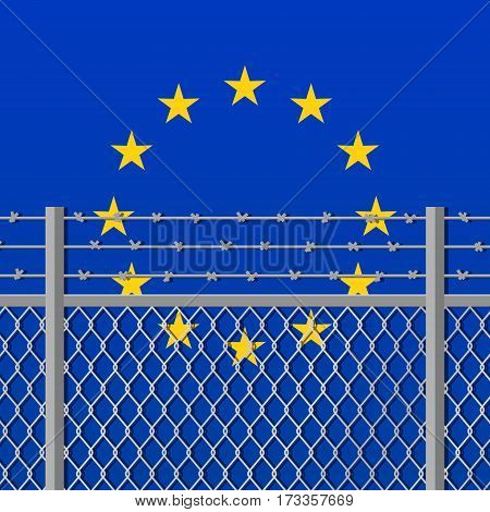 Metal fence with barbed wire on a European Union flag. Separation concept borders protection. Template for march against anti-immigration policies. Social issues on refugees or illegal immigrants.