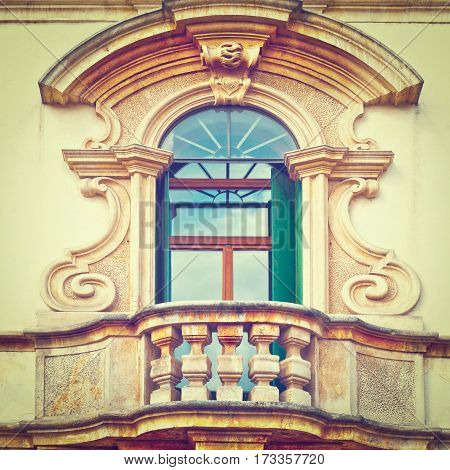 The Renovated Facade of the Old Italian House with Balcony Instagram Effect