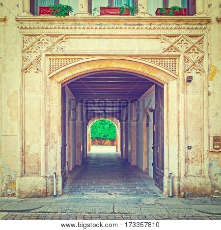 Balcony above the Gateway in the Italian City of Vicenza Instagram Effect