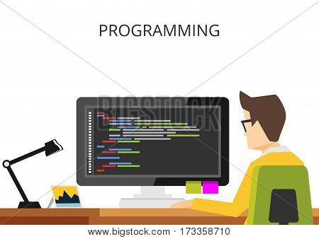 Programming or coding banner flat design concept. Programmer coding on computer