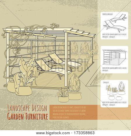 Vector illustration of hand drawn lounge chairs, patio,  pergola and flowers in pot. Garden accessory on beige  background. Landscape design. Summer backyard with outdoor furniture. Rest area.