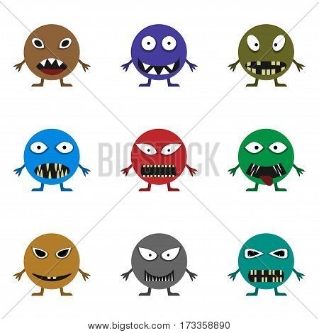 Cute monster set for animation and comics. Humor comic angry animals