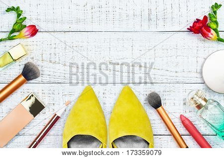 Still life of fashion woman. Modern female accessories. Feminine cosmetic background. Overhead of essentials fashion women objects. Flat lay composition with space for copy. Top view