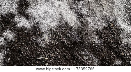 Melting ice, wet ground, spring, natural background, grunge