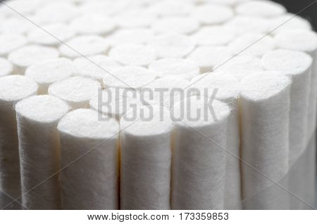 cotton pads for medical and dental use close up