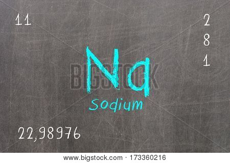 Isolated Blackboard With Periodic Table, Sodium