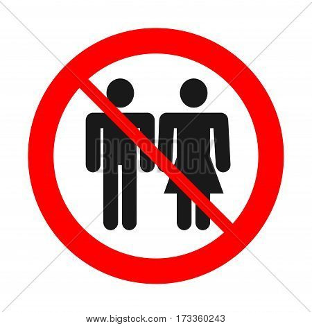Sign no man and woman together. No couple. Alone concept.