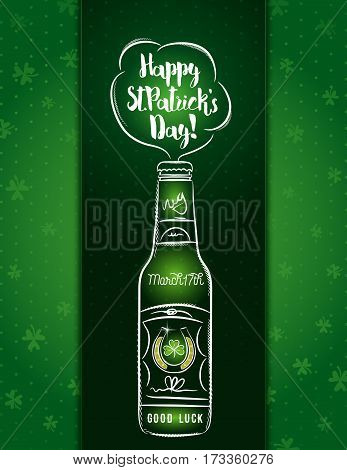 Green card for St. Patrick's Day with one beer bottle horseshoe and shamrock vector illustration.