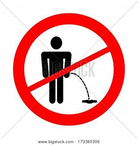 No pee sign. Prohibition sign and symbol
