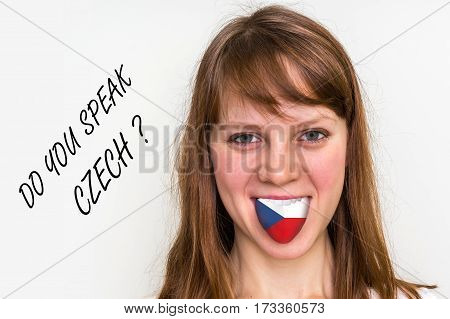 Do You Speak Czech? Woman With Flag On The Tongue