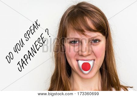 Do You Speak Japanese? Woman With Flag On The Tongue