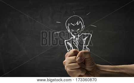 Cartoon image of business personage . Mixed media