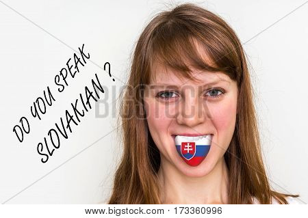 Do You Speak Slovakian? Woman With Flag On The Tongue