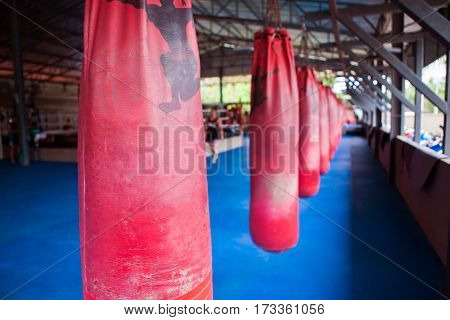 Red Boxing Sand Bags Hanging At A Sports Gym.