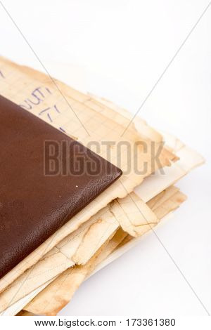 Old Retro Grandmothers Recipe Cover Book Over White Background