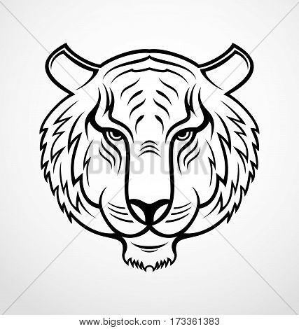 Tiger face tribal tattoo design vector illustration