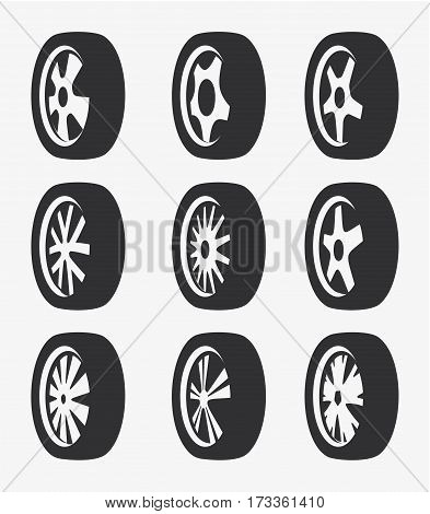 Isolated black and white color alloy wheels logo collection, car elements logotype set vector illustration