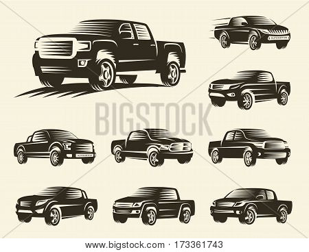 Isolated monochrome pickup trucks logo set, cars logotypes collection, black color automotive vehicle vector illustration