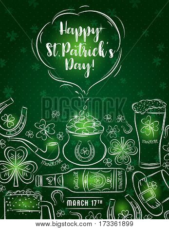 Green card for St. Patrick's Day with beer bottle mug horseshoe pipe hat and shamrock vector illustration.