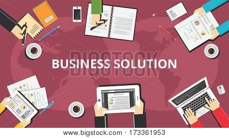 Business solution banner concept illustration. Business people working a on a desk top view with business tools.